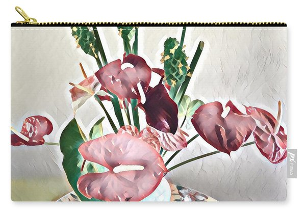 Aloha Bouquet Of The Day - Anthuriums And Green Ginger In Pale Carry-all Pouch