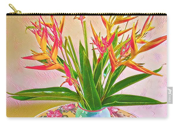 Aloha Bouquet Of The Day Halyconia And Birds In Pink Carry-all Pouch