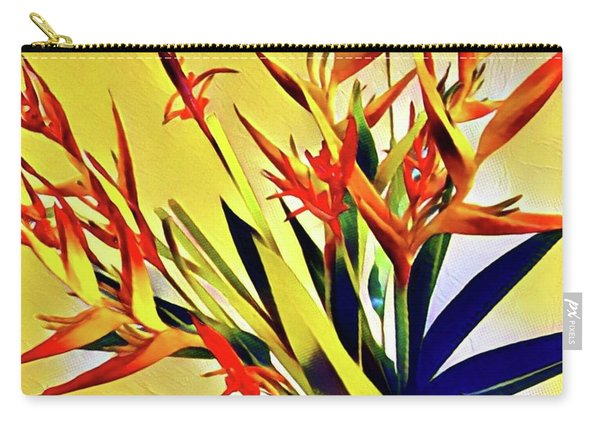 Aloha Bouquet Of The Day - Halyconia Birds In Orange Carry-all Pouch