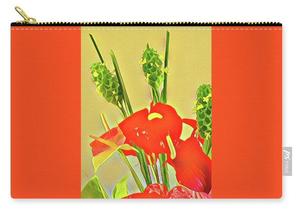 Aloha Bouquet Of The Day -- Red Anthuriums With Green Ginger, A Portion  Carry-all Pouch
