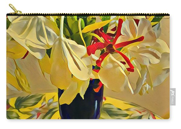 Aloha Bouquet Of The Day - White Gingert With Red Orchids - A New Hue Carry-all Pouch