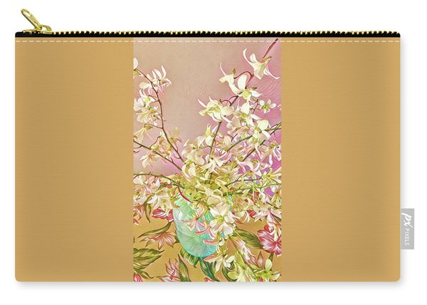 Aloha Bouquet Of The Day - White Orchids In Pink Carry-all Pouch