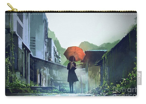 Carry-all Pouch featuring the painting Alone In The Abandoned Town by Tithi Luadthong