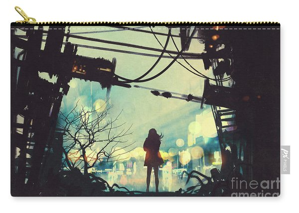 Carry-all Pouch featuring the painting Alone In The Abandoned Town#2 by Tithi Luadthong