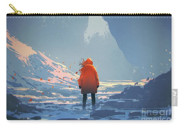 Carry-all Pouch featuring the painting Alone In Winter by Tithi Luadthong