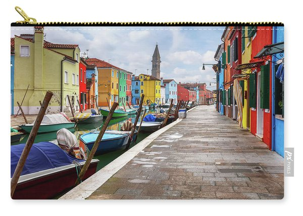 Along The Canal In Burano Island Carry-all Pouch