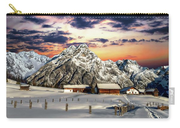 Alpine Winter Scene Carry-all Pouch