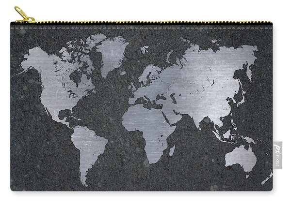 Aluminum Map Of The World On Concrete Slab Carry-all Pouch