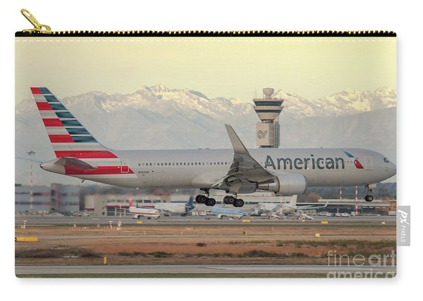 American Airline Boeing B767 Landing At Milano Malpensa Airport Carry-all Pouch