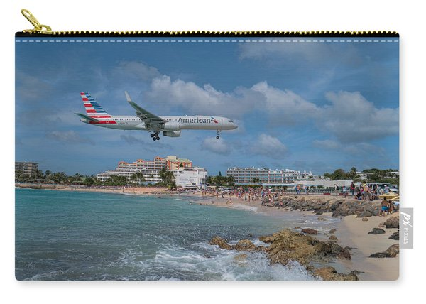 American Airlines Landing At St. Maarten Airport Carry-all Pouch