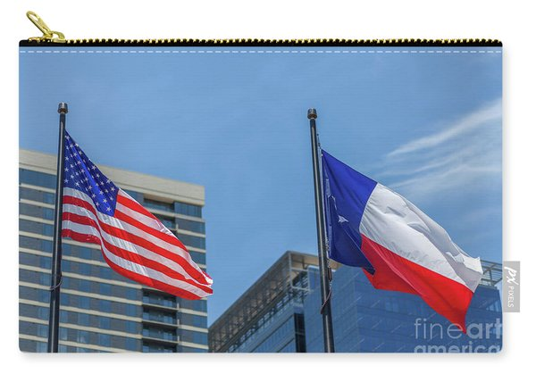 American And Texas Flag On Top Of The Pole Carry-all Pouch