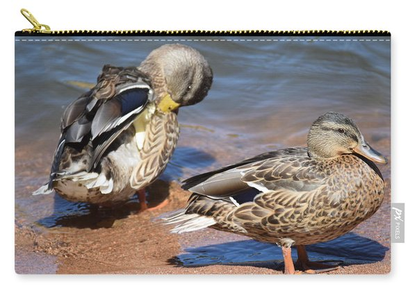 Carry-all Pouch featuring the digital art American Black Duck by Margarethe Binkley