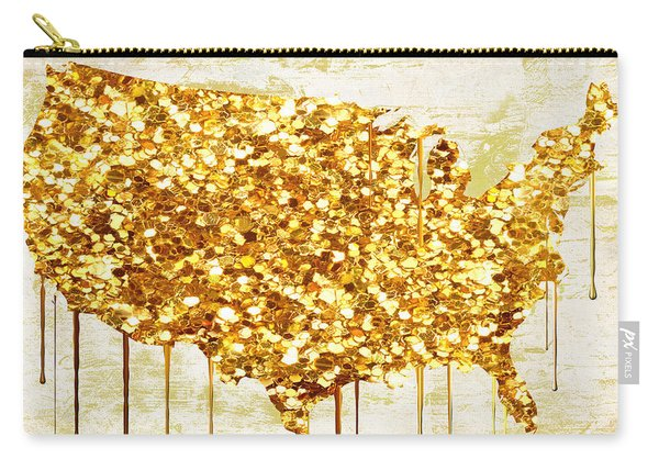 Glitter Gold American Map Carry-all Pouch