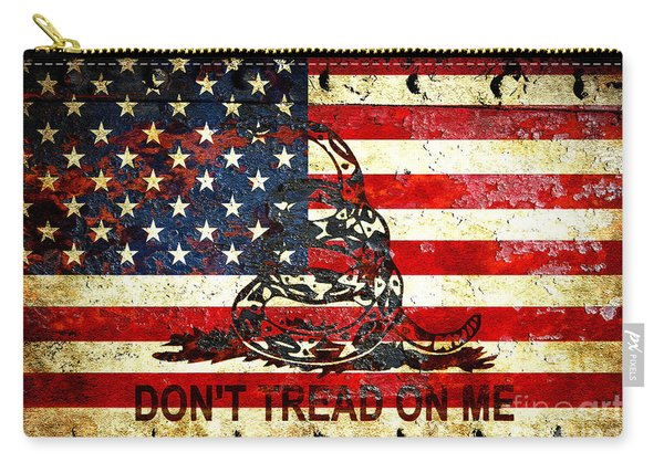 American Flag And Viper On Rusted Metal Door - Don't Tread On Me Carry-all Pouch