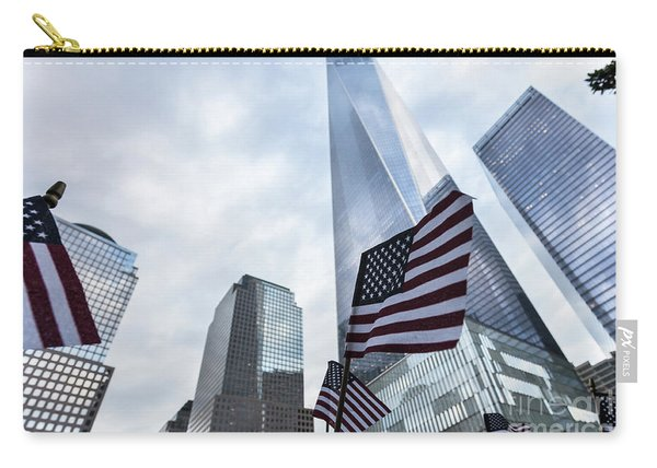 American Flag In Front Of The One World World Trade Center Carry-all Pouch