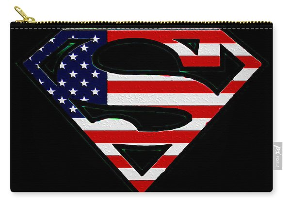 American Flag Superman Shield Carry-all Pouch