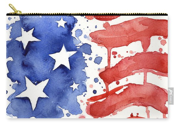 American Flag Watercolor Painting Carry-all Pouch