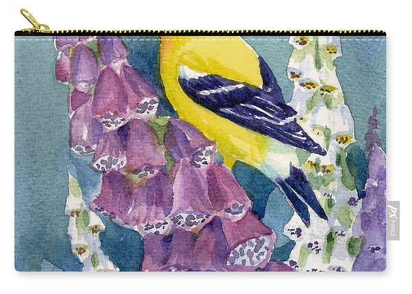 American Goldfinch And Foxgloves Carry-all Pouch