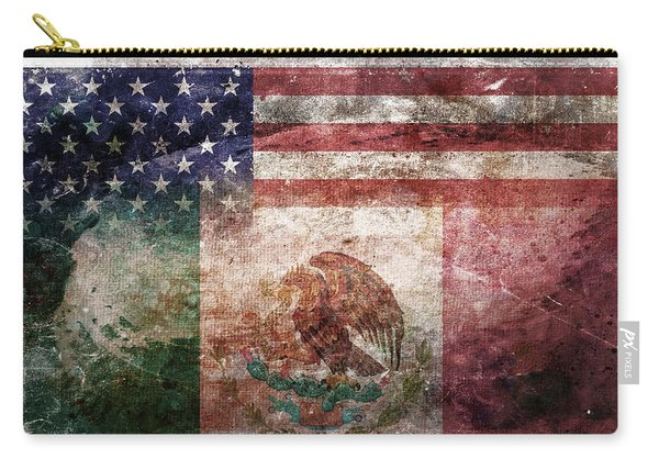 American Mexican Tattered Flag  Carry-all Pouch