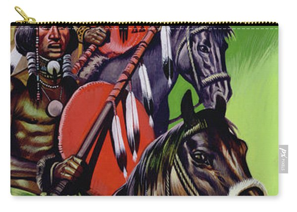 American Native Indians Gather For War Carry-all Pouch