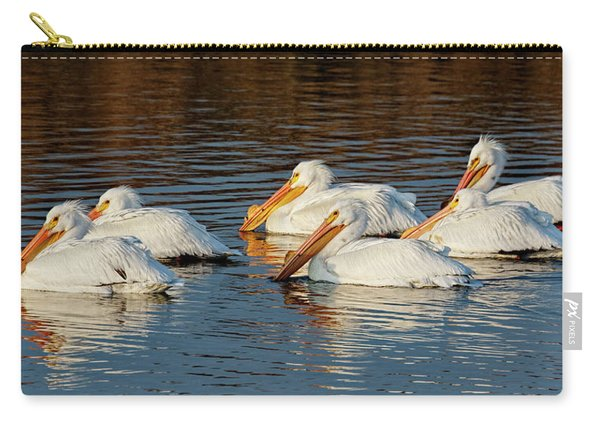 Carry-all Pouch featuring the photograph American Pelicans - 02 by Rob Graham