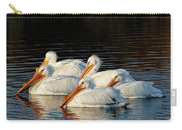 Carry-all Pouch featuring the photograph American Pelicans - 03 by Rob Graham