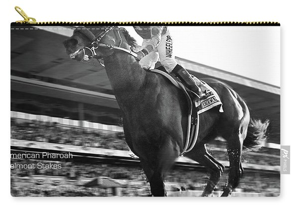 American Pharoah With Victor Espinoza  Winning The 2015 Belmont Stakes, Triple Crown Carry-all Pouch