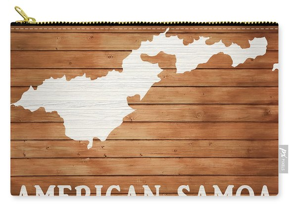 American Samoa Rustic Map On Wood Carry-all Pouch