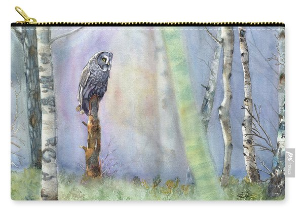 Among The Birch - Great Grey Owl Carry-all Pouch
