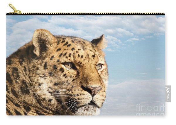 Amur Leopard Against Blue Sky Carry-all Pouch