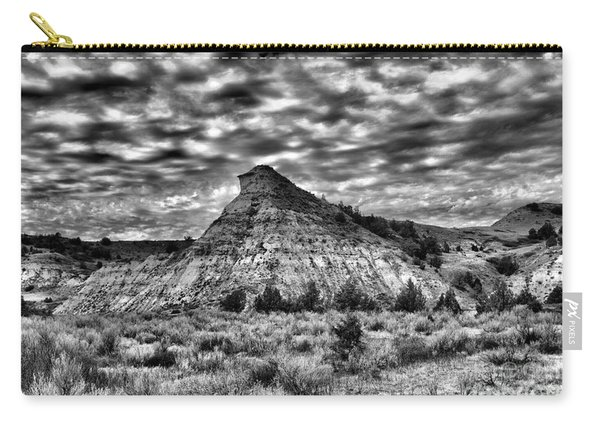 An Expanse Of Desolation In The Badlands Black And Carry-all Pouch