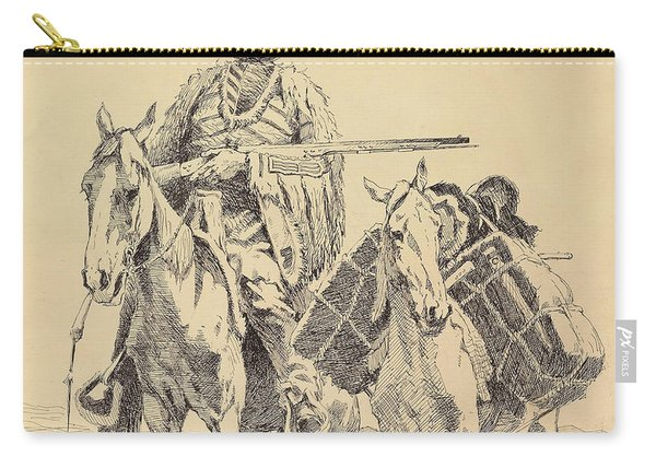 An Old Time Mountain Man With His Ponies Carry-all Pouch