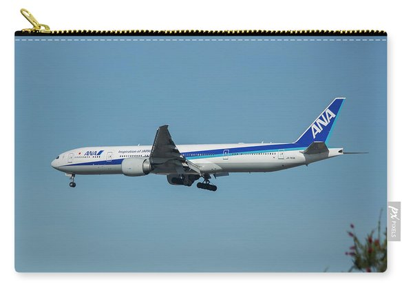 A N A Airplane J A 738 A  Boeing 777-381 Landing L A X Los Angeles International Airport Art Carry-all Pouch