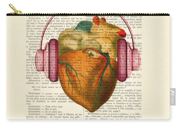 Anatomical Heart And Headphonesin Color  Carry-all Pouch