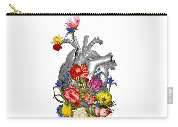 Anatomical Heart With Colorful Flowers Carry-all Pouch