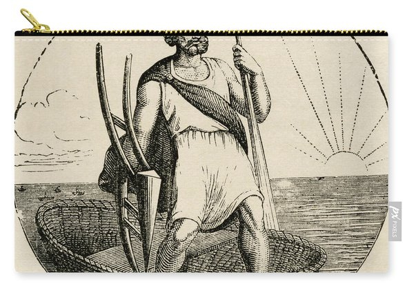 Ancient Briton With Coracle And Plow Carry-all Pouch