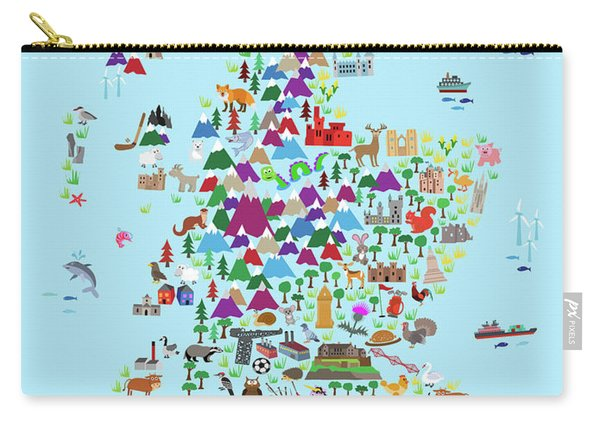 Animal Map Of Scotland For Children And Kids Carry-all Pouch
