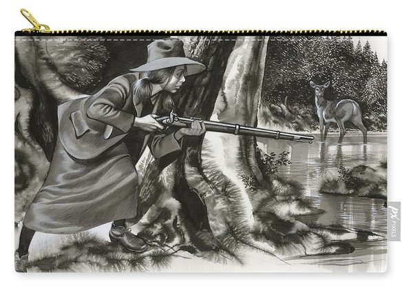 Annie Oakley Shooting A Buck Carry-all Pouch