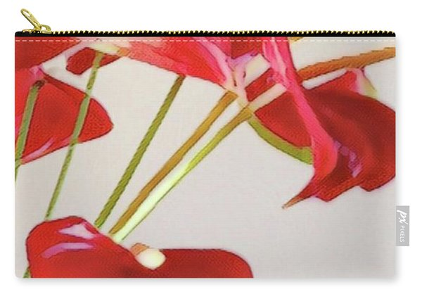Anthurium Fragments In Red Carry-all Pouch