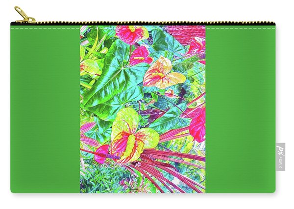 Anthuriums Pink And Turquoise Carry-all Pouch