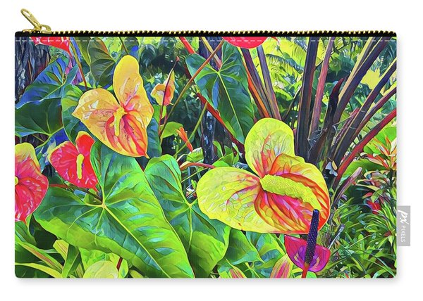 Anthuriums Yellow And Red Carry-all Pouch
