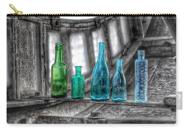 Antique Blue Green Glass Bottle Collection Baltimore - Maryland Glass Corporation Carry-all Pouch