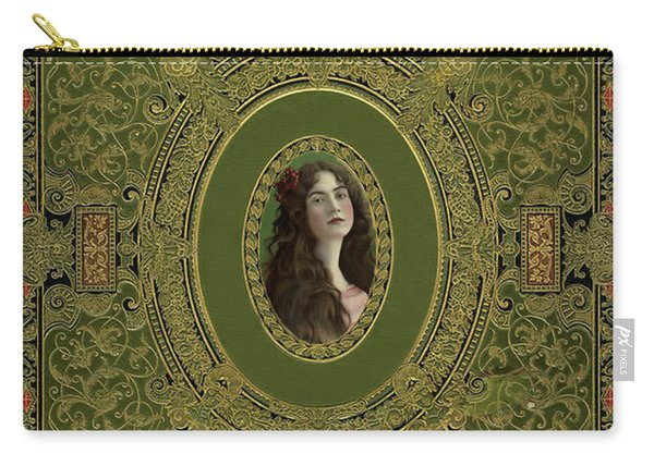 Antique Book Cover With Cameo - Green And Gold Carry-all Pouch