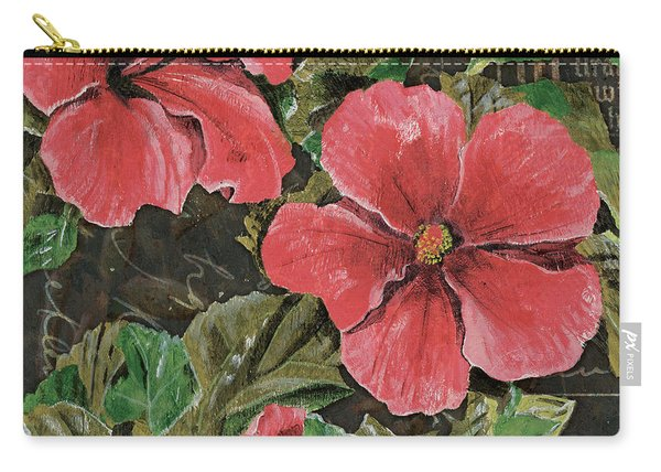 Antique Hibiscus Black 2 Carry-all Pouch