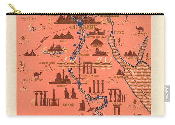 Antique Illustrated Map Of Egypt _ Monuments Around River Nile - Cairo, Luxor, Abu Simbel Carry-all Pouch