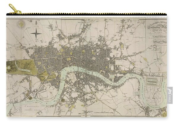 Antique Map Of London - Old Cartographic Maps - London In Miniature, 1807 By Edward Mogg Carry-all Pouch