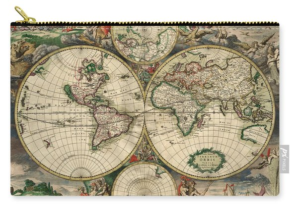 Antique Map Of The World - 1689 Carry-all Pouch