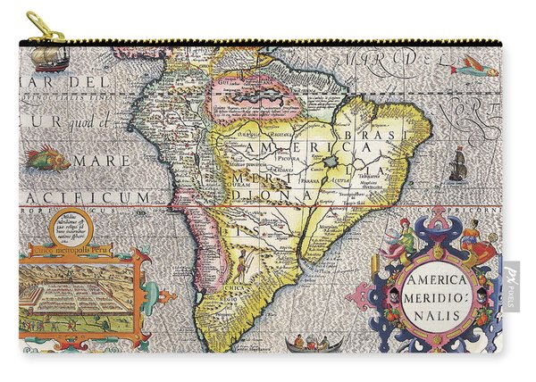 Antique Maps - Old Cartographic Maps - Antique Map Of South America, 1630 Carry-all Pouch