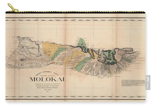 Antique Maps - Old Cartographic Maps - Antique Map Of Molokai, Hawaiian Island, 1897 Carry-all Pouch