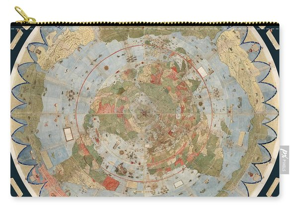 Antique Maps - Old Cartographic Maps - Flat Earth Map - Map Of The World Carry-all Pouch